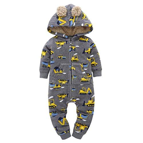 URSING Säugling Baby Winter Mantel Jungen Mädchen Kapuzenpullover Drucken Dicker Kapuzenjacke Overall Outfit Reißverschluss Süßes Ohr Kinderkleidung 6-24 Monat (Grau, 18M) (Grau, 9M)