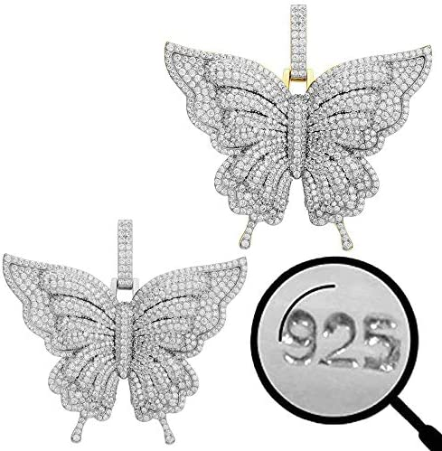 Harlembling Solid 925 Sterling Silver Huge 3 Butterfly Pendant Hip Hop Butterfly Piece for Men product image