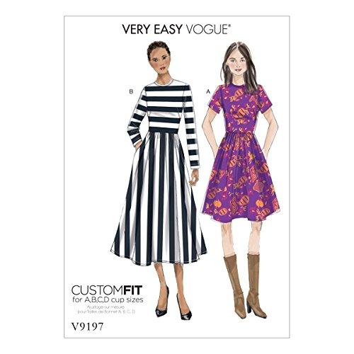 Vogue Mustern Vogue 9197E5, Schnittmuster Kleid, Größen 14–22, Tissue, mehrfarbig