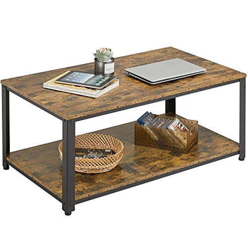 Yaheetech Coffee Table Industrial Side Table Living Room Table with Metal Frame for Home Office 106x60x45.5cm
