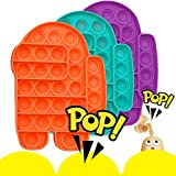 Push Pop Pop Popping Pop Bubble Fidget Sensory Toys Pop Game for Boys and Girls Autism Special Needs ADD ADHD Anxiety & Stress Reliever Toy Gifts (3Pack - Among Us Purple Orange Teal)
