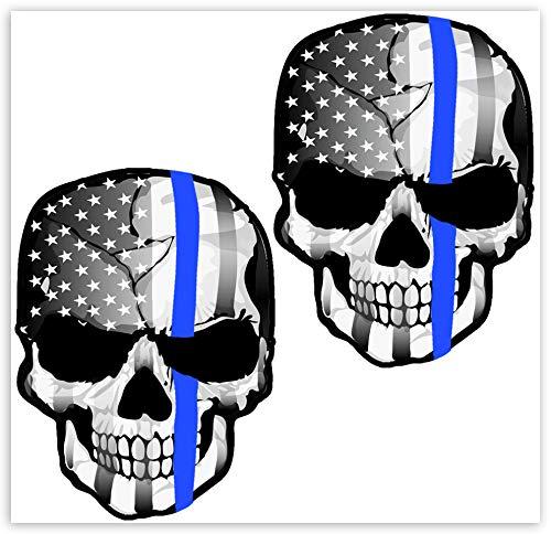 Biomar Labs® 2 pcs Pegatinas USA Apoyo Policial Thin Blue Line Bandera Vinilo Adhesivo Autos Coches Motos Ciclomotores Bicicletas Ordenador Portátil B 227