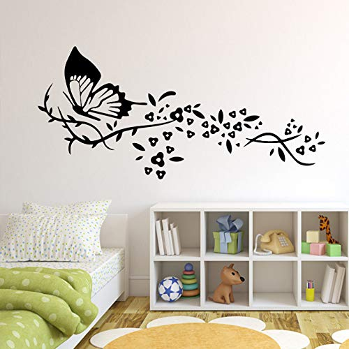 SUPWALS Butterfly In Flower Wall Stickers Home Decoration Self-Adhesive Removable Decer Bedroom Gym Wallpaper Living Room Wall Art PVC