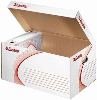 ESSELTE Lot de 5 Containers Archivage carton ondulé blanc (L)560 x (P)370 x (H)275 mm à l'unité