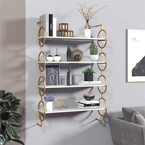 LJYY Moderner Wandregalschrank, nordisches Metallholz hängendes Wandregal Bücherregal Organizer für Kinder Wand schwimmende Regale-4tier M.