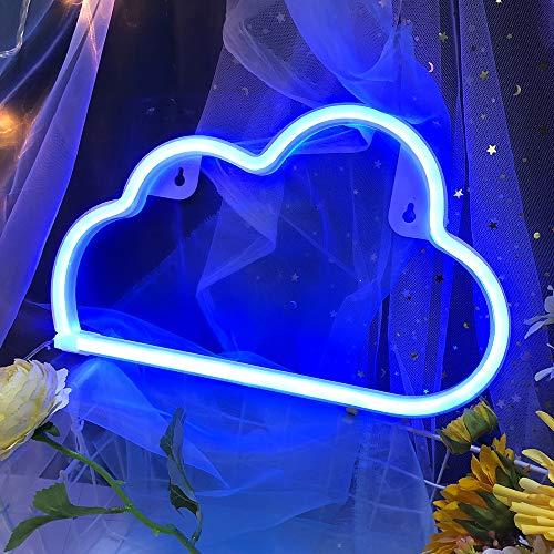 Blaues Wolkenlicht Neonschilder Neonlichter für Wanddekoration, USB- oder Batterie-LED-Schilder für Schlafzimmer, Lichtschild für Weihnachten, Geburtstagsfeier, Wohnzimmer, Mädchen, Kinderzimmer