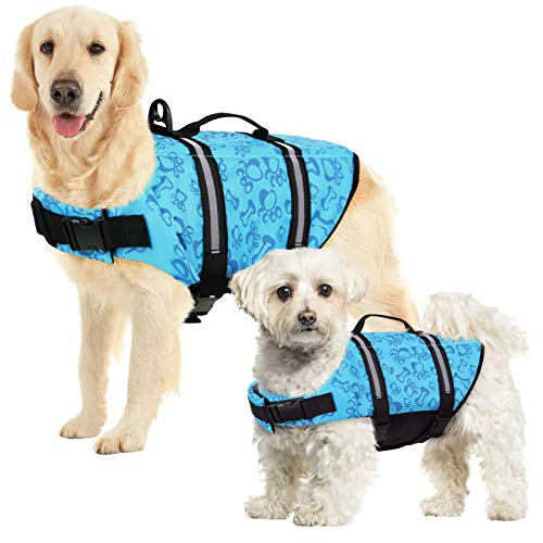 SUNFURA Ripstop Dog Life Jacket, Safety Pet Flotation Life Vest with Reflective Stripes and Rescue Handle, Adjustable Puppy Lifesaver Swimsuit Preserver for Small Medium Large Dogs (Blue, XS)