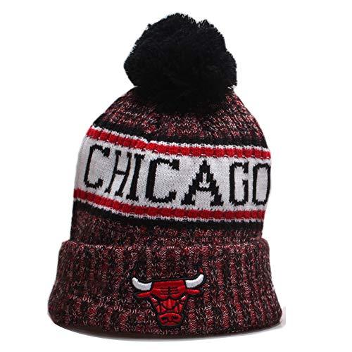 Herren Damen Warm Gestrickte Hüte Bulls Basketballkappen Winter Warm Gestricktemütze Outdoor Ski Pompom Cap Beanies Hat