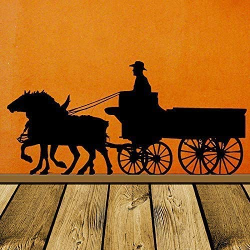 Pioneer Horse Decoration Carriage Old West Western Decoración De La Pared Stage Coach Cowboy Wall Vinyl Sticker House Office Decoration 89X42Cm