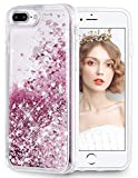 wlooo iPhone 6 Plus/6s Plus/7 Plus/8 Plus Hülle, Handyhülle iPhone 8 Plus, Glitzer Herren Damen Bewegende Flüssig Treibsand Cover Transparent Weich Flexible TPU Bumper Silikon Schutzhülle Case