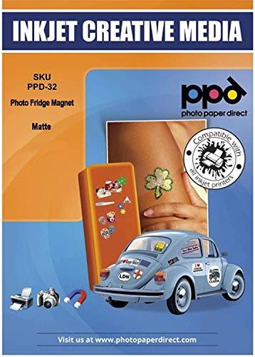 PPD DIN A4 Inkjet Magnet Fotopapier (Magnetpapier) Matt - individuell bedruckbar und zuschneidbar für Kühlschrankmagneten und Bastelarbeiten uvm DIN A4 x 5 Blatt PPD032-5