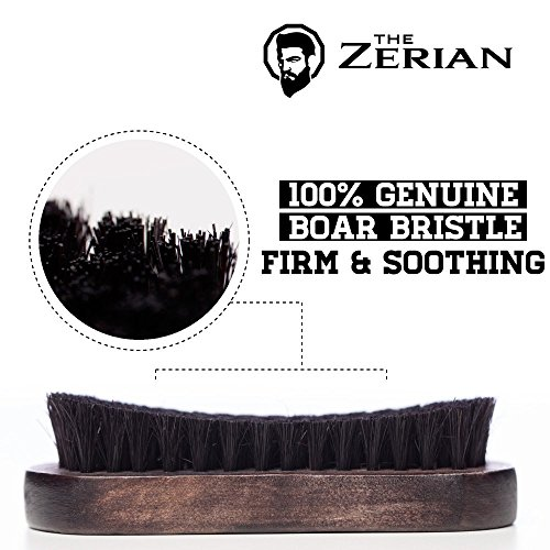 Beard Brush for Men -100% Firm Boar Bristle – Best Grooming Comb for Beards & Mustache works great with balm, oil or wax in Premium Giftbox Set & BONUS a Digital BEARD CARE ROUTINE BOOKLET