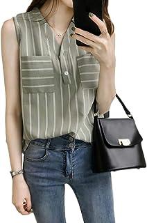Suncolor8 Women Stripe Plus Size Sleeveless Slim Fit V-Neck Chiffon Blouse Shirt Top