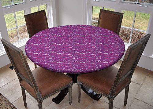 Rond tafelkleed keukendecoratie, tafelkleed met elastische randen, Paar Knuffel met Oosterse Kalligrafie Valentines Woorden Samen Illustratie Rood Blauw, Keukentafelkleed