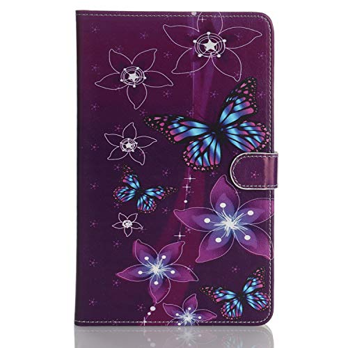 Case for Tablet iPad Mini, Flip Cover Leather Wallet with Card Holder for iPad Mini 1 2 3 4 5 - Purple Butterfly