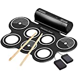 Electronic Drum Set for Kids, Roll Up Electric Drum Set Built in Dual Speakers, Practice Drum Pad with Foot Pedals Drum Sticks Headphone Jack, Awesome Birthday Christmas Gifts for Children Beginners