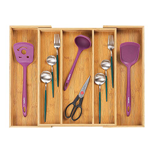Utoplike Bamboo Cutlery Tray Expandable Drawer Organizers for Utensils...