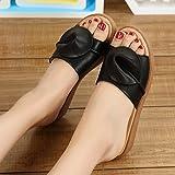 fankou fine dell estate costate di manzo fresco in estate, e le donne in stato di gravidanza indossare pantofole piatto scarpe mom grande numero,35, scarpe nere.
