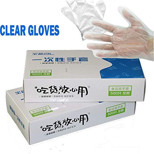 HLOEC Wegwerphandschoenen - 100/500 stks doos wegwerp vinyl handschoen multifunctionele transparante dunne waterdicht voor huishoudelijk werk schone keuken bakken handschoenen, transparant, 500 stks