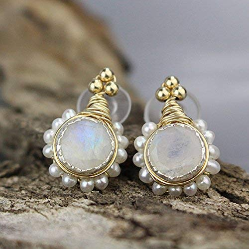 Unique Seasonal Wrap Introduction Boho Bridal Moonstone Pearl Direct sale of manufacturer Earrings Gol with Flower Stud