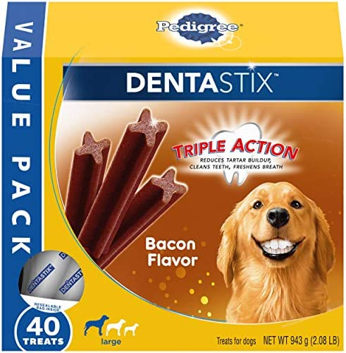 PEDIGREE DENTASTIX Adult Large Dog Dental Care Treats Bacon Flavor 2 08 lb Pack 40 Treats product image