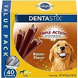 PEDIGREE DENTASTIX Adult Large Dog Dental Care Treats, Bacon Flavor, 2.08 lb. Pack (40 Treats)
