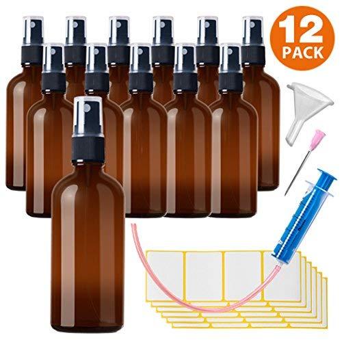 12x100ml Sprühflasche Klein Glasflasche mit Zerstäuber - Apothekerglas spruehflasche aus Braunglas Set Inklusive 28 Hilfszubehör