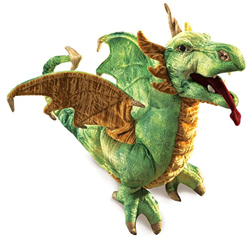 Folkmanis Wyvern Dragon Hand Puppet, Green, White