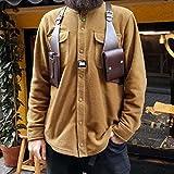 TZH Steampunk Double Shoulder Underarm Bag Retro Rivets Leather Armpit Bag Men Adjustable Anti-Theft Wallet Bag Holster Bag for Outdoor
