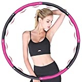 Hula Hoop Fitness,Design Ondulato gomma piuma,Staccabile a 8 sezioni Pneumatico da Palestra per utilizzato per dimagrire e massaggi, Hula Hoop professionale per adulti Fitness 1.2 kg(rosso + grigio)