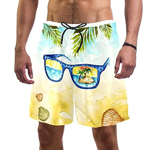 Troncos de natación para hombre cortos de secado rápido de tela con forro de malla, tendencia a la moda, gira, campo de otoño, grano amarillo, Gafas de viaje de acuarela 2, Medium