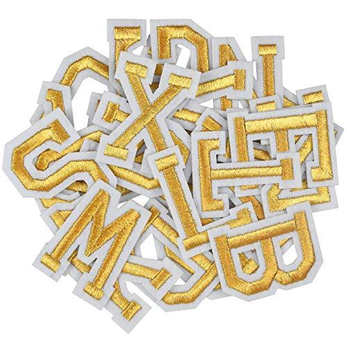 AvoDovA52 Piezas Parches Bordados de Letras, Letras Bordadas Doradas, Parches de Apliques de Alfabeto de A-Z, Letras Bordadas de Tela para Coser o Planchar, para Zapatos Sombrero Bolsa Ropa