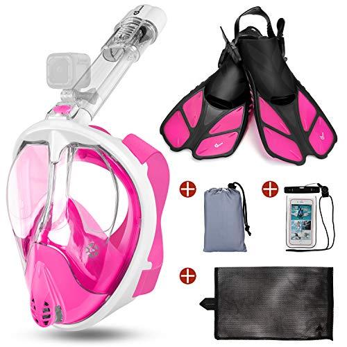 Odoland Snorkel Mask Kit 5-en-1, Máscara de Buceo 180 °Cara Completa de Panorámico Visión Tecnología Anti-vaho Anti-Fugas Camara Compatible, Snorkel Retirable, Rosa L - (Mask L + Fins S)
