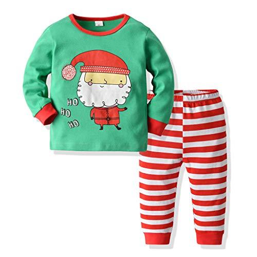 YWLINK Pijama Infantil NavideñO NiñA NiñO Dibujos Animados De Santa Claus Superior Camiseta+Pantalones De Pijama A Rayas Servicio A Domicilio Suave Y Confortable Ropa De Abrigo para NiñOs