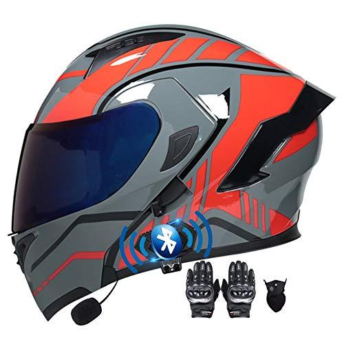 Casco Moto Modular ECE Aprobado Doble Visera Anti Niebla Cascos Scooter Guantes y Mascarilla Casco Motocicleta Bluetooth Incorporado para Hombre Mujer 55~60cm