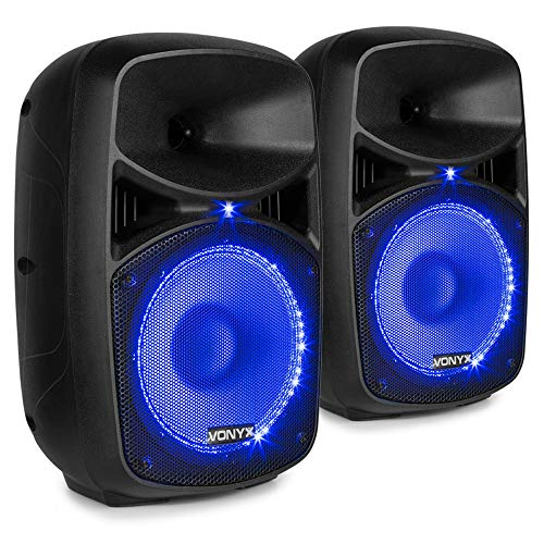 COPPIA CASSE AMPLIFICATE 400W DIFFUSORI KARAOKE BLUETOOTH LED USB TELECOMANDO microfono con filo in regalo