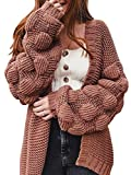 FERBIA Women Oversized Cardigan Knitted Cute Chunky Sweaters Wrap Long Fall Pom Pom Open Front Knit Brown