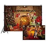 Cassisy 1,5x1m Vinilo Navidad Telon de Fondo Pared De Chimenea De Navidad Fondo de Pueblo de Navidad Fondos para Fotografia Party Infantil Photo Studio Props Photo Booth