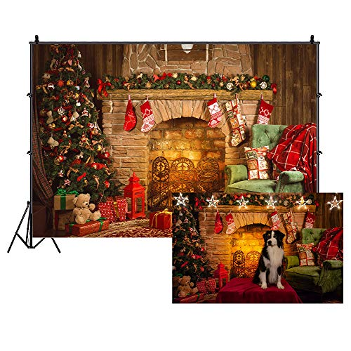Cassisy 2,2x1,5m Vinilo Navidad Telon de Fondo Pared De Chimenea De Navidad Fondo de Pueblo de Navidad Fondos para Fotografia Party Infantil Photo Studio Props Photo Booth