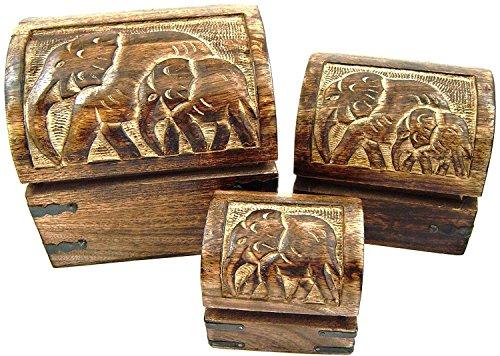 Budawi® - Holzkiste mit Elefanten-Motiv im 3er-Set, Holztruhe, Schatulle aus Holz, Holzbox