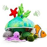 Plush Creations, Inc. Criatura Creaciones Hablar Conjunto de mar con Carrier [Conjunto de 4 Animales] tiburón, Tortuga de mar, Pulpo y pez Payaso Conjunto de Juguete