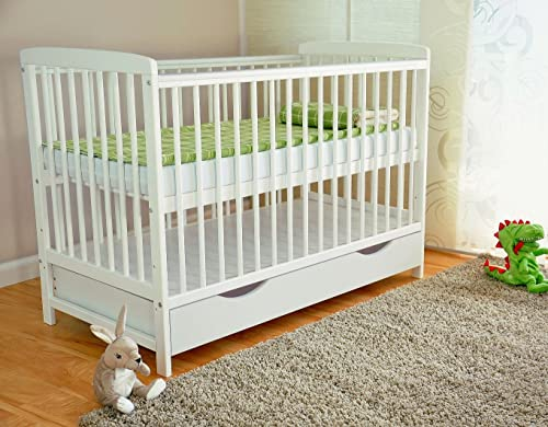 White Solid Wood Baby Cot Bed with drawer on runners, Teething Rails, Free Deluxe Aloe Vera Foam Mattress, Converts to the a Toddler bed, Bed 3-Position Mattress Base