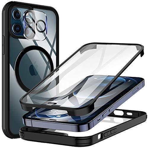 KKM Vidrio Templado Funda con Protector de Pantalla Incorporado y Protector de Lentes de Cámara para iPhone 12 Pro 6.1 Pulgadas, Compatible con Cargador de Magnético Carcasa Cover - Negro