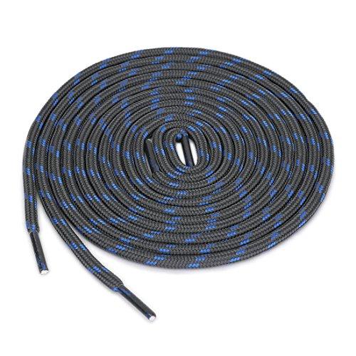 uxcell 3 Paare Kern Rutschfest Verschleißfeste Runde Schnürsenkel für Wanderschuhe Dunkel Grau Blau 120 cm