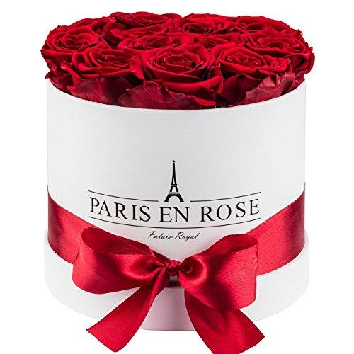 Original PARIS EN ROSE Rosenbox (Rosenbouquet, Flowerbox) Palais-Royal mit konservierten Rosen (WEIß-Bordeauxrot) | 3 Jahre haltbar |