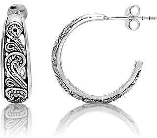 925 Oxidized Sterling Silver Bali Inspired Filigree Half Hoop Post Earrings