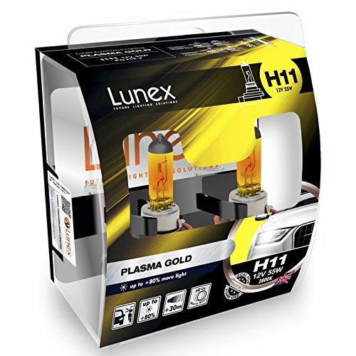 LUNEX H11 PLASMA GOLD Ampoules Halogenes Phare Jaunes 711 12V 55W PGJ19-2 2800K duobox (2 pièces)