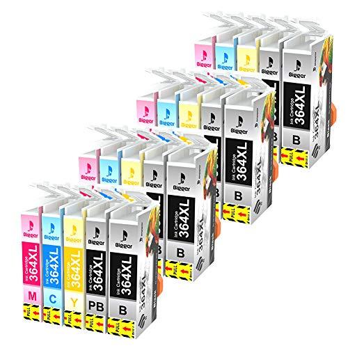 Bigger - Cartuchos de Tinta de Repuesto para HP 364XL compatibles con HP Photosmart 7510 7520 B8550 C5380 C5324 C6324 C6380 C309 C309a (4 Unidades, Negro, 4 Cian, 4 Magenta, 4 Amarillos, 20 Unidades)