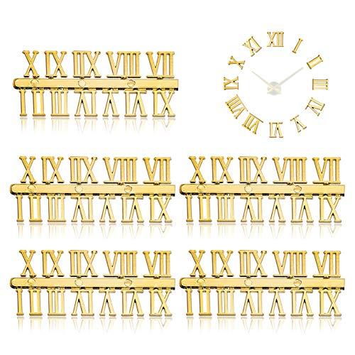 Rumfo 5 Sets of DIY Digital Replacement Gadget Repair Clock Parts Arabic/Roman Number Bell Clock Numerals Clock Accessories (Golden Roman Numerals)