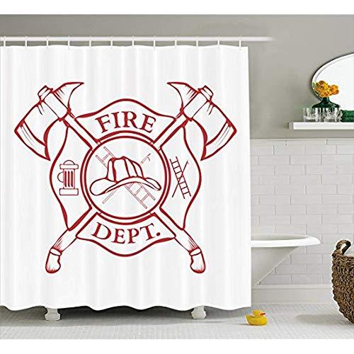 Yeuss-Feuerwehrmann-Duschvorhang, Feuerwehr-Label mit Äxten, Leiter & Helm für die Öffentlichkeit, Menschen retten, Stoff-Badezimmer-Dekor mit Haken, Korallenweiß